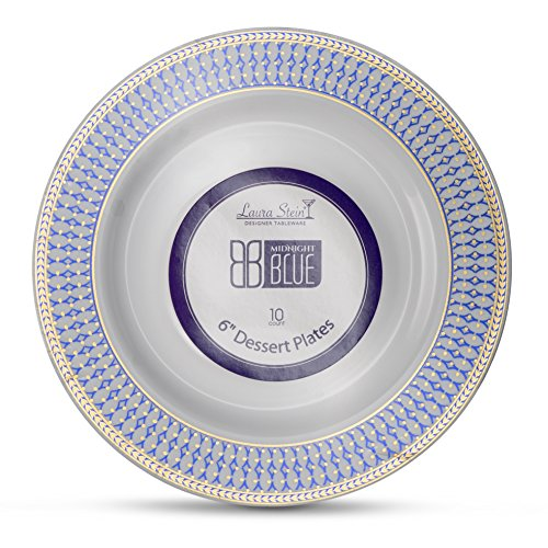Laura Stein Designer Tableware Premium Heavyweight 6'' Inch White Plate And Blue & Gold Border Plastic Party & Wedding Plates Midnight Blue Series Disposable Dishes Pack of 40 Plates