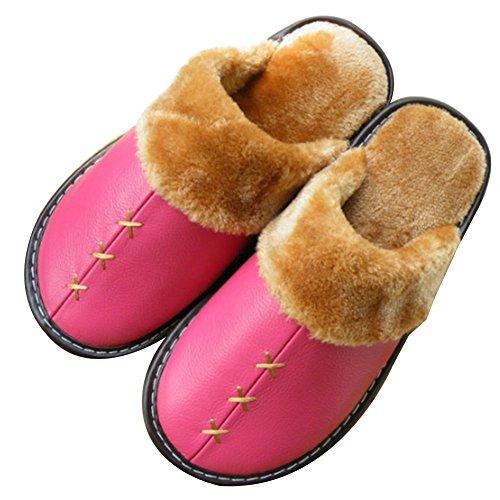 TELLW Zapatillas De Cuero De INVIERNO Cálido Para Hombre y Mujer amantes De Interior Zapatillas De Piel De Vaca De Suave permeabilidad