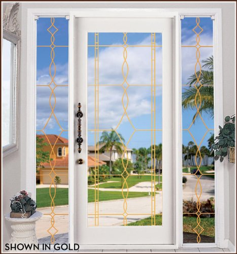Allure Leaded Glass Gold See-Through Static Cling Window Film - 8 in x 86 in