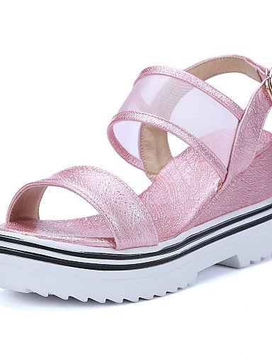 ShangYi Womens Shoes Fleece Wedge Heel Wedges / Comfort / Ankle Strap / Open Toe Sandals Office & Career / Dress Pink / White Pink