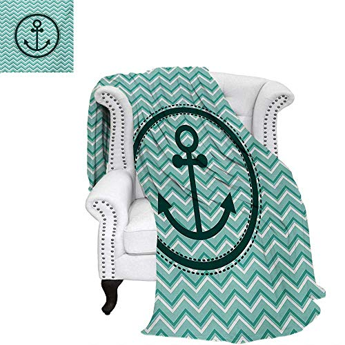 warmfamily Anchor Velvet Plush Throw Blanket Horizontal Zig Zag Pattern Background Anchor Image Circle Shape Medallion Throw Blanket 70
