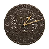 12'' diameter x 1'' D Whitehall Products Sun Face Indoor/Outdoor Clock in French Bronze.