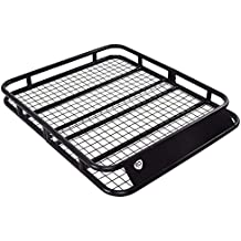 Goplus Universal Roof Rack Basket Heavy Duty Steel Car Top Cargo Luggage Holder Carrier