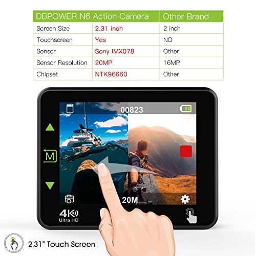 """51V1rLuA8YL - DBPOWER N6 4K Touchscreen Action Camera, 2.31"""" LCD Touchscreen 20MP Sony Image Sensor 170° Wide-Angle Waterproof WiFi Sports Camera, 2 Batteries included in Accessories Kit"""