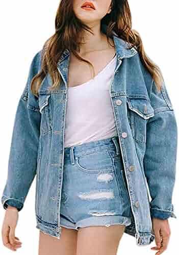 XOWRTE Cardigan 3/4 Sleeve for Women Long Sleeve Tunic Outerwear Retro Jacket Oversize Loose Casual Denim Hooded Coat