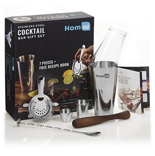 Homiu Deluxe Stainless Steel Cocktail Bar Gift Set. Premium Quality, 7 Piece Gift set includes - 25ml & 50ml Bar Measures, Twisted Bar Spoon, Strainer, Wooden Muddler & Elegant Gift Box   FREE recipe