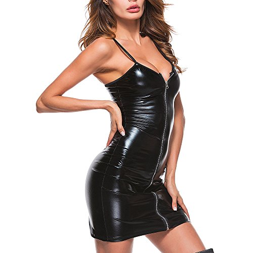 Stripper vêtements️ 1 Charme Zipper Translucide Lingerie Microfibre Noir Clubwear Cuir Combinaisons Sous Mesh Sexy Morchan❤femmes 6UwxXX