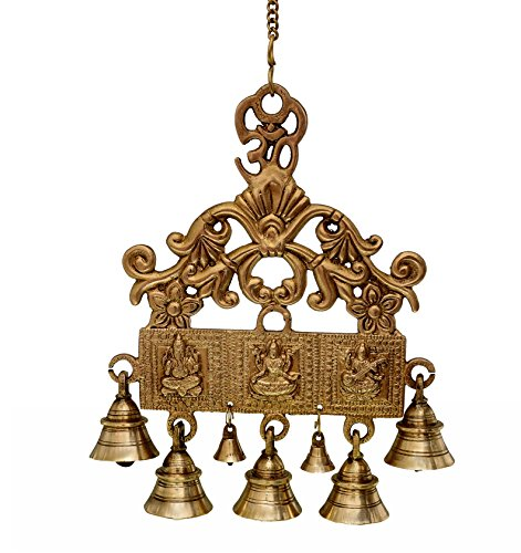 Prupledip Brass Wall Hanging With Bells Of Lakshmi Ganesh Saraswati, Unique Indian Décor (10721) Brass Hanging Bell