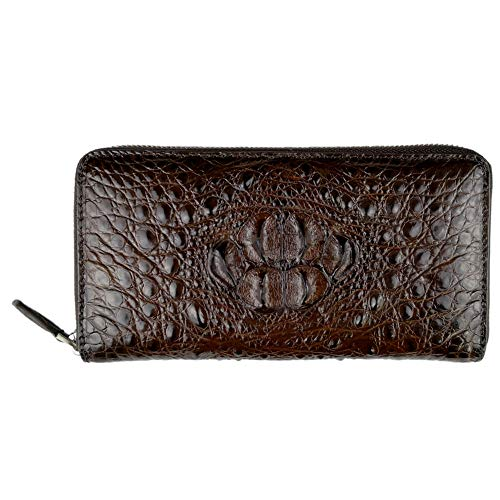 (CHERRY CHICK Men's Genuine Leather Crocodile Skin Long Wallet/Alligator Zip-Around Business Clutch Handbag(Head Leather-Brown))
