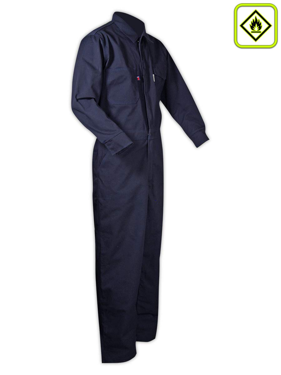 Magid Glove & Safety CBN65DHS CBK65DH/CBN65DH Dual-Hazard 6.5 oz. FR 88/12 Contractor Coveralls, Navy, Small, Flame Resistant Cotton Blend