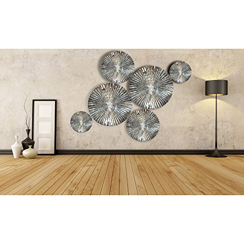 Decorlives Set of 6 pcs Mirror Finish Sunburst Aliminium Wall Sculpture Decorative Wall Hanging Art (Mirror Art Metal)