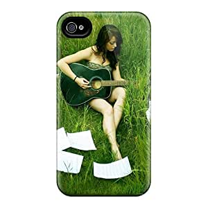 Rugged Skin Case Cover For Iphone 4/4s- Eco-friendly Packaging(singer In Grass)