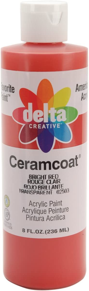 Delta Creative Ceramcoat Acrylic Paint in Assorted Colors (8 oz), 025038, Bright Red