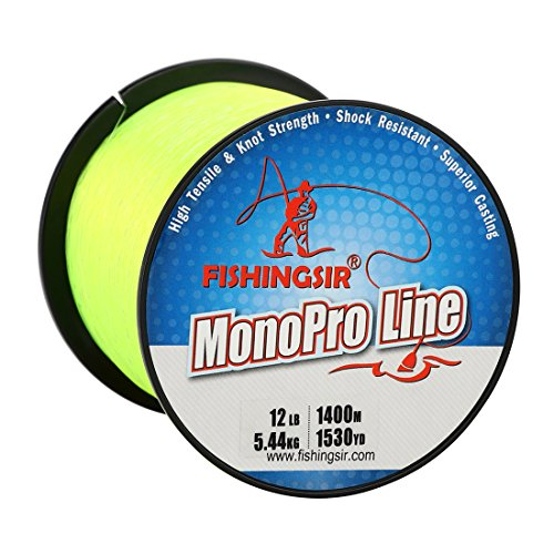 FISHINGSIR Super Smooth Nylon Mono Fishing Line Long Casting Fishing Line,Lime Green/Yellow 80 Lb Casting