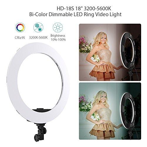 Andoer HD-18S 18 Inch Studio LED Ring Light 55W 5500K Bi-Color Dimmable LED Video Light Lamp Built-in 252pcs SMD Lighting CRI 95+