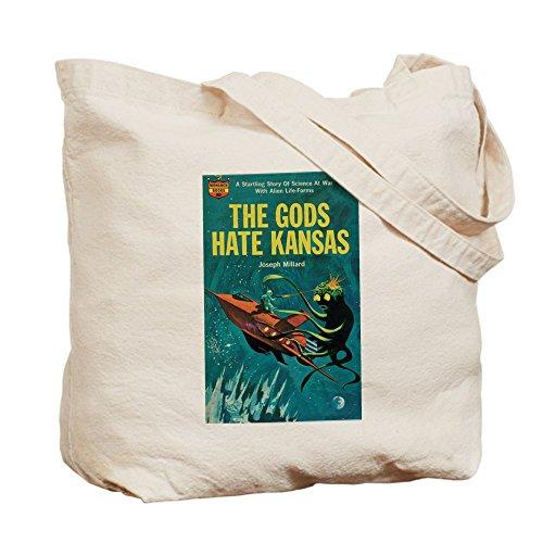 Cafepress–Borsa–The Gods Hate Kansas–Borsa di tela naturale, tessuto in iuta