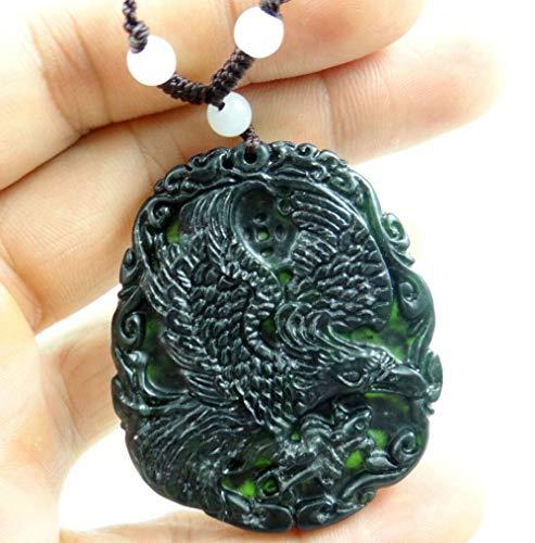 - FidgetKute Beautiful Chinese Jade Hand-Carved The Statue of Eagle Species Pendant E-015