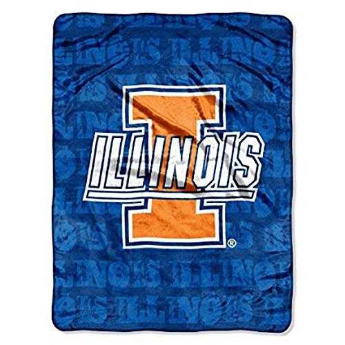The Northwest Company NCAA Officially Licensed University of Illinois Fighting Illini Micro-rachel Plush Throw Grunge Design (Illini Fighting Blanket)