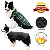 Dog Sweater & Dogs Jackets for Extra Large Dogs with Reflective Stripe for Winter - Windproof Dog Coat Waterproof Dog Clothes with Padded Collar, Keep Your Pet Warm in Winter Cold Weather, Green XXL