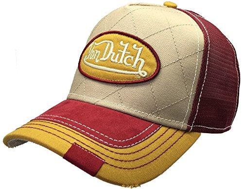 Von Dutch 252 Quilt Trucker Hat Baseball Mesh Cap with Logo Patch Shield Marroon Quilt (Khaki/Yellow) VDHT252
