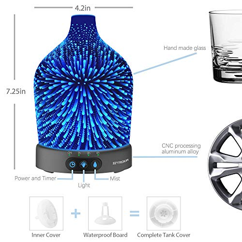 Essential Oil 3D Diffuser, 200ML Cool Mist Humidifier 24 Color Case Base, Waterless Auto Shut-off