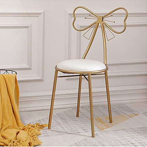 (Funlea European Bow Shape Iron Metal Makeup Stool with Back, Nordic PU Leather Dressing Stool Household Adults Dining Chair Armchair Mall Clothing Store Change Shoe Bench (Color : Gold))