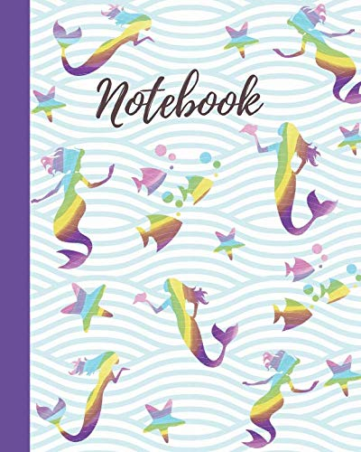 Notebook: Rainbow Mermaid & Friends Pattern - College Lined Notebook, Diary & Journal - Cute Gift for Girls Teens Women (8
