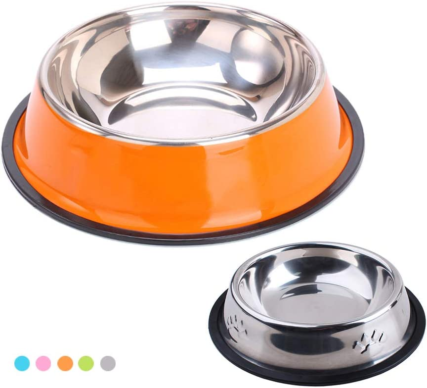 Youmeisha Dog Bowls Stainless Steel Dog Bowl with Non Slip Rubber Base Pet Bowls for Food or Water, Suitable for Puppy Cats and Kittens Feeder Bowl Orange 2 Pack (M+L(2 Pack), Orange)