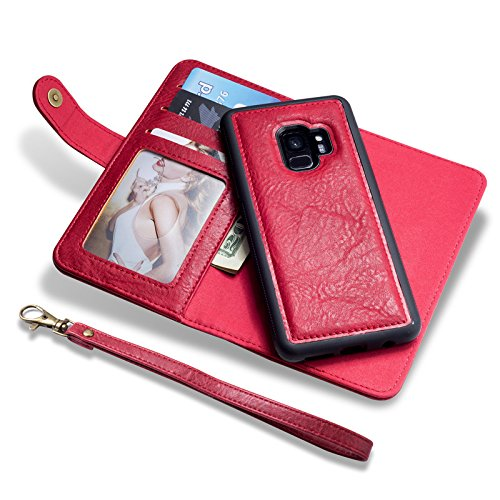 Boens Wallet Case for Galaxy S8, Pu Leather Stand Wallet Case Credit Card Holder Flip Cover Retro Belt Buckle Case For Samsung Galaxy S8 -Red