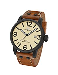 TW Steel Men's Maverick' Quartz Stainless Steel and Leather Casual Watch, Color:Brown (Model: MS41)