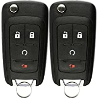 KeylessOption Keyless Car Remote Uncut Flip Ignition Key Fob Replacement for OHT01060512 (Pack of 2)