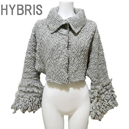 [ヒブリス] HYBRIS イタリア製インポート ローゲージフリンジニットジャケット グレー #1 HYBRIS  [並行輸入品]