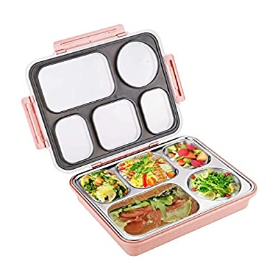 Sumerflos Large Bento Box, Leak Proof Lunch Box Containers, 5 Compartments Stainless Steel Food Containers for Adults, On-the-Go Meal and Snack (Pink): Kitchen & Dining