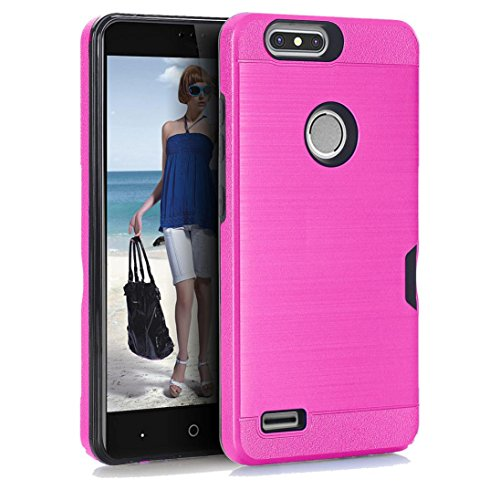 Price comparison product image For ZTE Sequoia Z982 ZTE Blade Z MAX ZTE Zmax Pro,Unpara Card Pocket Holder Stand Case Cover (Hot Pink)