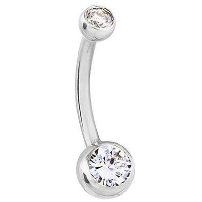 Amazon Com 0 35 Ct Tw Double Diamond 14k White Gold Belly Button