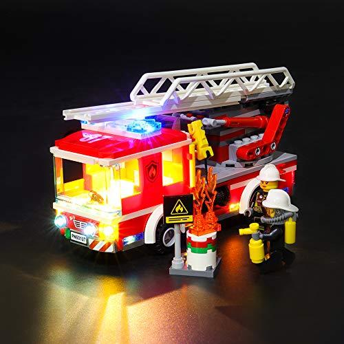 Juego de luces LIGHTAILING para bloques de construcción (City Fire Ladder Truck) Modelo - Kit de luces LED Compatible con Lego 60107 (NO incluido el modelo)