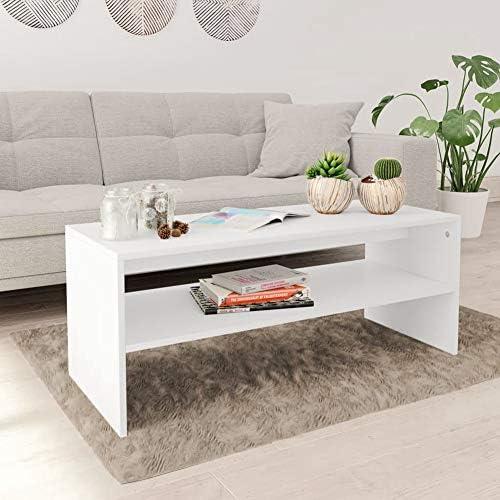 2020 Nieuw Wakects Moderne salontafel van spaanhout, salontafel woonkamertafel met 1 legplank, wit, 100 x 40 x 40 cm  q9b9kWu