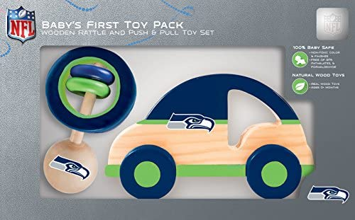 MasterPieces NFL Seattle Seahawks Natural Wood Non-Toxic BPA Phthalates & Formaldehyde Free Push - Pull Toy & Baby Rattle Combo Set 2 Pieces