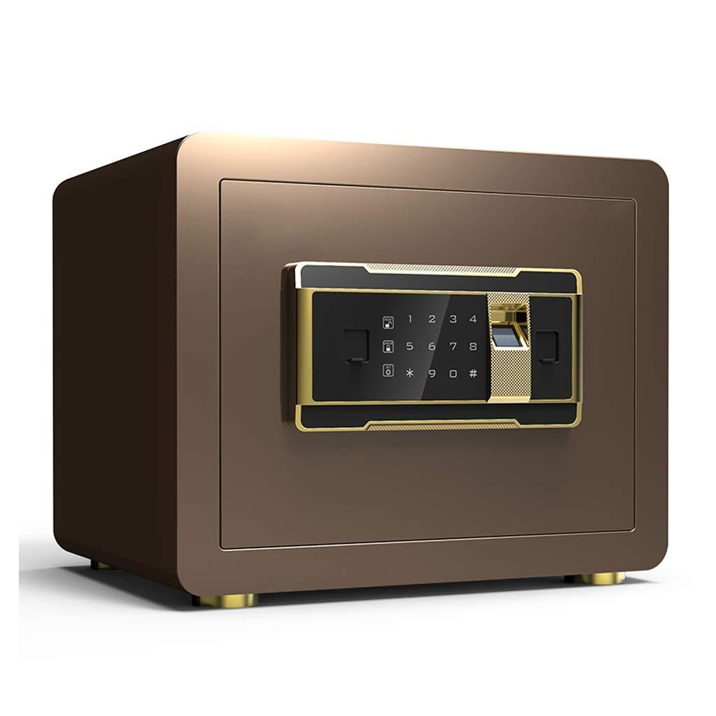 Safes Boxes & Organisers Security Fingerprint Built-in Alarm Tamper-Proof Digital Key 352525cm (Color : Gold B) by Safes