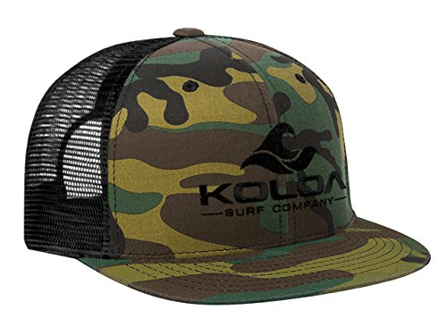 Bill Camo Cap (Koloa Surf(tm) Mesh Back Wave Logo Trucker Hat in Camo with Black Logo)