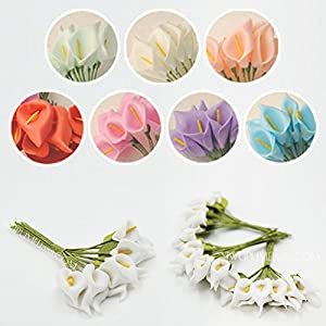 144PCS Mini Artificial Calla Lily Bouquets for Bridal Wedding Home Decoration Gift Box Wrap 2