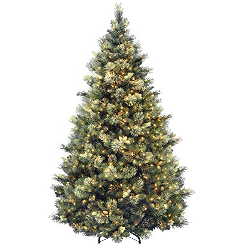 National Tree Carolina Pine Tree with Clear Lights , 7.5 Feet