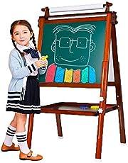 Arkmiido 3 en 1 Caballete de Madera para niños Tablero de Dibujo magnético de Doble Cara Pizarra con Eje de Dibujo y Rollo de Papel, Magnéticos de bonificación, Números, Copas de Pintura