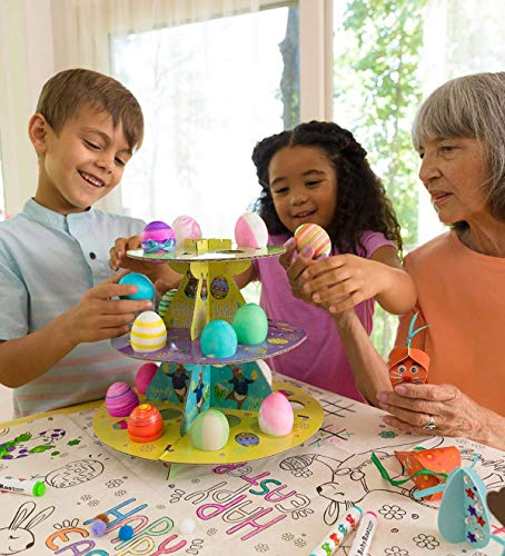 (Crafty Creations Easter Table Decorating Kit - 3-Tiered Egg Tree, Printed Paper Tablecloth, Card Stock Eggs and Bunnies, Treat Boxes, Accessories - Tablecloth Measures 63 L x 36 W)