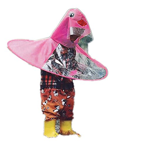 (UFO Waterproof Hands Free Umbrella Rain Hat Headwear Cap Raincoat Outdoor Fishing Golf Child Adult Student Rain Coat Cover (Hot Pink -1, S))