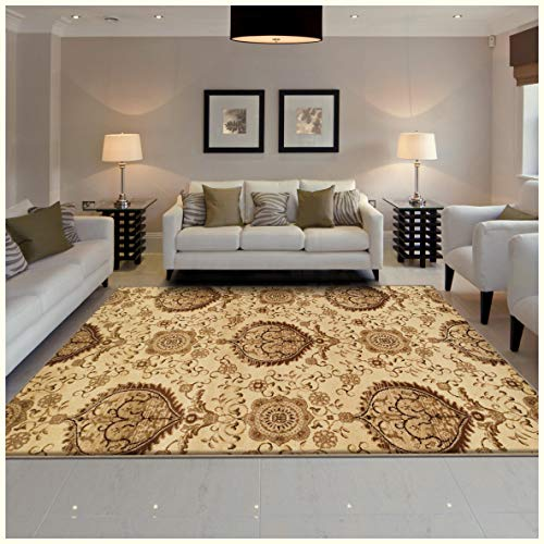 Superior Poplar Collection Area Rug, Traditional Gold Medallion Pattern, 10mm Pile Height with Jute Backing, Affordable Contemporary Rugs - 8' x 10' Rug