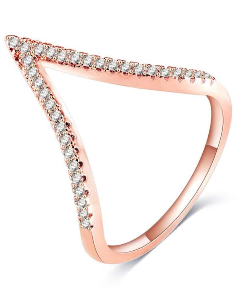 TEMEGO Vintage 14k Rose Gold CZ V Chevron Ring,Stackable V Shape Wedding Cocktail Statement Ring,Sizes 6