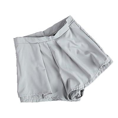 Gogolan Women High Waist Overlay at Front Stunning Beige Nude Shorts Pants Bottom Pants