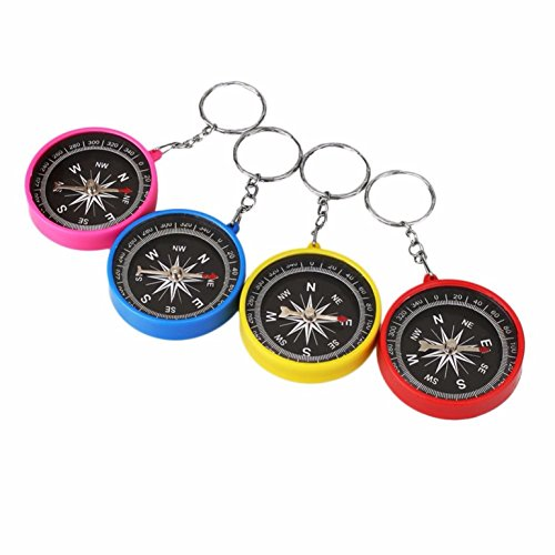 - 1 Pack Random Color Mini Aluminum Compass Keychain Hiker Navigation Survival Emergency Life Tactical Superlative Popular Outdoor Hiking Waterproof Whistle Backpack Geometry Map Guide Tools Kits