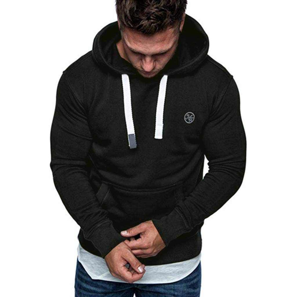 Beclgo Men's Long Sleeve Autumn Winter Casual Sweatshirt Hoodies Top Blouse Tracksuits (M, Black)